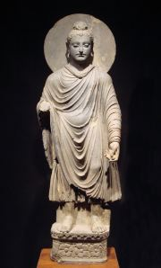Standing Buddha from Gandhara, showing Greek, Syrian, Persian, and Indian artistic influence. Such style developed in northwestern India around the beginning of the common era.